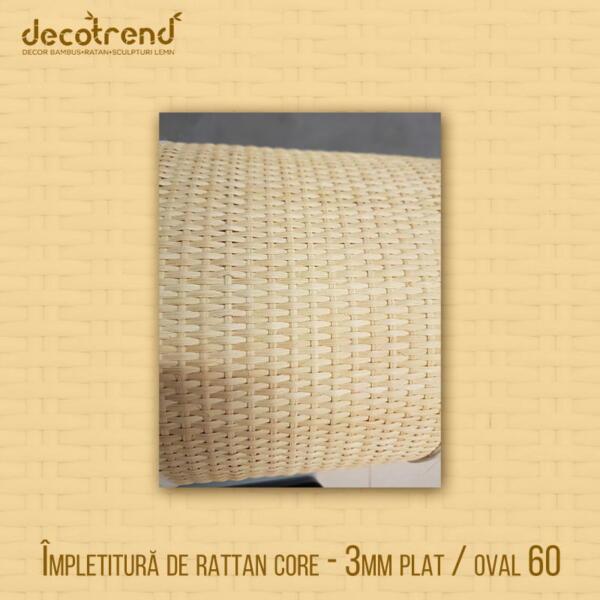 Împletitură de rattan core - 3mm plat / oval 60