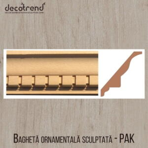 Bagheta ornamentala sculptata din lemn de fag PAK